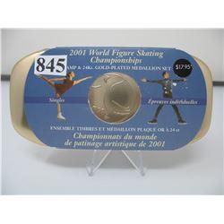 2001 WORLD FIGURE SKATING CHAMPIONSHIPS - STAMP & GOLD PLATED MEDALLION SET