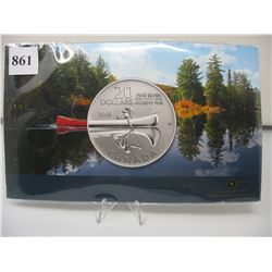 2011 CANADIAN $20 SILVER COIN - .9999 PURE SILVER - CANOE & REFLECTION