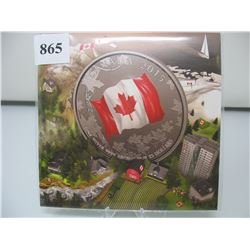 2015 CANADIAN $25 SILVER COIN - .9999 PURE SILVER - COLOURED FLAG