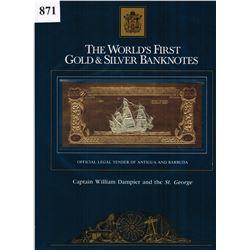 GOLD & SILVER BANK NOTE - ANTIGUA & BARBUDA - CAPT DAMPIER / ST. GEORGE - 100 DOLLARS - LEGAL TENDER