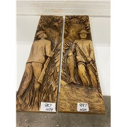 """2-wooden décor pc's hunter + moose and fisherman + fish- 31""""x8"""" each"""