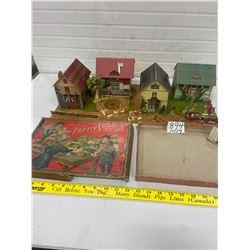 1897 pretty village- school house set in original box- some box damage - great colors