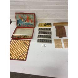 halma board game, pocket domino set cardboard original box and 28 wooden dominos and instructions