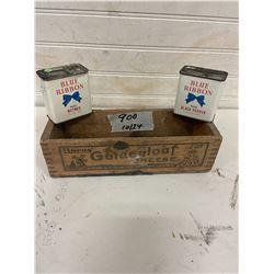 cheese box- burns and 2 blue ribbon spice tins