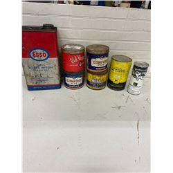 lot of tobacco and oil tins-j.o snowmobile, j.d power steering- dented (full)