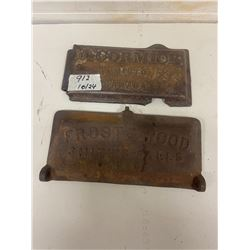 2- cast mower lids- frost + wooden and McCormick