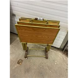 4 T.V Trays with Stand 1970's
