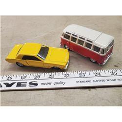 2 X 1/43 SCALE DIE CAST 66 MUSTANG & VW VAN