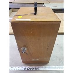 WOODEN LOCK BOX WITH KEYS 14 X 9 X 8 INCHES