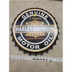 "16"" HARLEY DAVIDSON BOTTLE CAP TIN SIGN"
