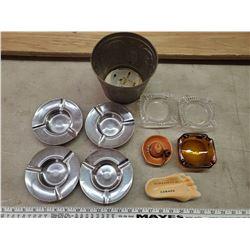 TIN BUCKET FULL OF GLASS ASH TRAYS