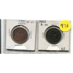 1881H, 1882H Canadian Large Cents