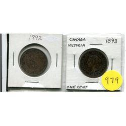1892 C2, 1893 C4 Canadian Large Cents