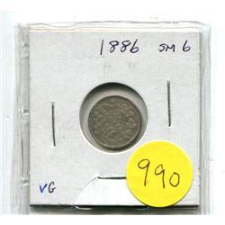 """1886 Small """"6"""" Canada Silver Five Cent Coin"""