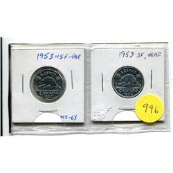 1953 NSF Far, 1953 SF Near Five Cent Coins