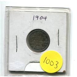 1904 Canadian Ten Cent Silver Coin