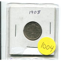 1908 Canadian Ten Cent Silver Coin