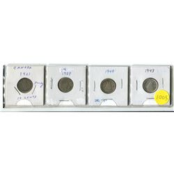 """1921, 1929, 1940 Dbl """"9"""", 1943 Canadian Ten Cent Silver Coins"""