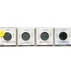 2012 Tecuseh, 2013 Artic #1 and #2, 2013 DeSalaberry Twenty-Five Cent Coins