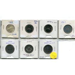 1967, 1976, 1978 Sm De, 1987 Twenty Five Cent Coins