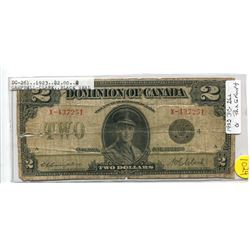 1923 Campbell - Clark, Black Seal - DC26l Group 4, Two Dollar Note