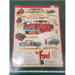 ORIGINAL AD FOR 1952 FORD