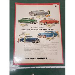 ORIGINAL AD FOR 1952 GM PRODUCTS