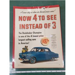 ORIGINAL AD FOR EARLY STUDEBAKER
