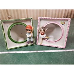 PAIR OF KIDS CERAMIC PICTURE FRAMES