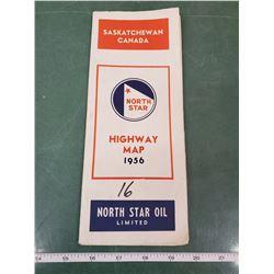 NORTH STAR OIL 1956 SASKATCHEWAN HIGHWAY MAP