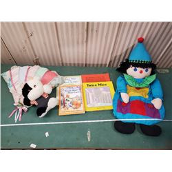 OLD KIDS BOOKS, CLOWN DOLL ETC