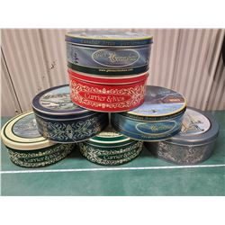 5 OLD PICTURESQUE BISCUIT TINS