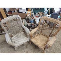 2 OLD WICKER CHAIRS