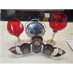 3 TIER CANDYDISH, 3 PLACE CANDLE HOLDER & 2 LONG STEM GLASSES