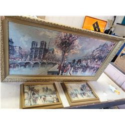 1 LARGE & 2 SMALL PAINTINGS- OLD PARIS FRANCE SCENE