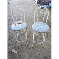 2 HIGH BACK METAL STOOLS- SEATS NEED RECOVERING