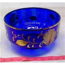 1971 Italy Cobalt Glass Guilt Painted Fruit Bowl