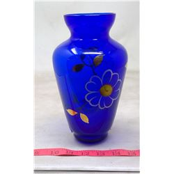 1976 Italy Cobalt Glass Guilt and Color Painted Flower Vase