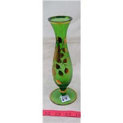 1963 Czechoslovakia Green Glass Gilt Painted Stem Vase