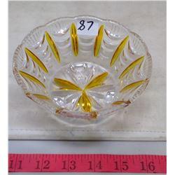 1932 Amber and Clear Glass BonBon Dish