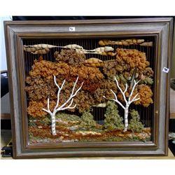 """Handcrafted 3D Soft Sculpture Fabric Art """"Birches"""" Framed"""