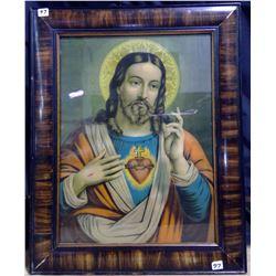 """1922 Tiger Oak Framed """"Jesus"""""""