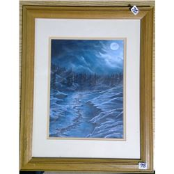 """1992 Original Acrylic Painting """"Moonlit River Boreal Forrest"""" by Angus Famed"""
