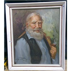 """1962 Original Oil Painting """"Country Patriarch"""" Framed"""