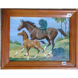 "2013 Original Acrylic by BJG ""Gremlins and Horses"" Framed"