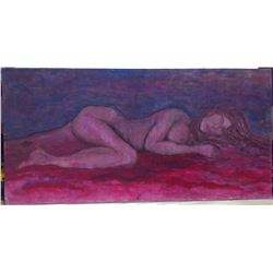 "1984 Original Acrylic on Panel ""Violet Twilight Nude"""