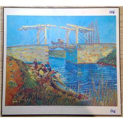 "Color Print Panel Repro. Van Gogh 1888 ""Langlois Bridge"""