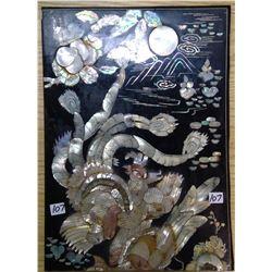 "1972 South Korea Lacquer Abalone Shell ""Phoenix Undermoon"""