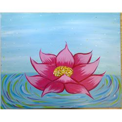 "2014 Original Acrylic on Canvas ""Enlightenment Lotus"""
