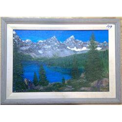 "1983 Original Acrylic on Panel ""Assiniboine Mount"" by Phullis McNeil of Calgary"